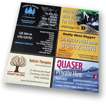 business card designs from DGWD in Coventry
